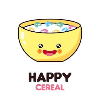 Icono de cereal feliz y comida kawaii