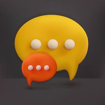 Icono de chat 3d. concepto de mensajes de redes sociales. estilo de dibujos animados de ilustración de render 3d