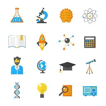 Icono de ciencia e investigación plana