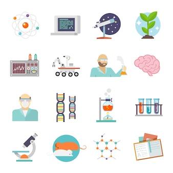 Icono de la ciencia y la investigación plana