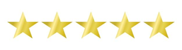 Icono de cinco estrellas en blanco