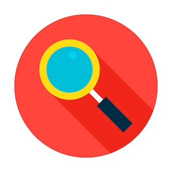 Icono de círculo de búsqueda. elemento de estilo plano de ilustración vectorial con sombra larga.