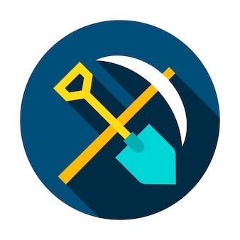 Icono de círculo de herramientas de minería. ilustración de vector de estilo plano con sombra.