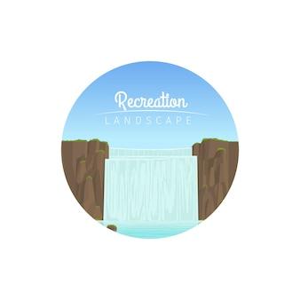 Icono de círculo de paisaje de recreación
