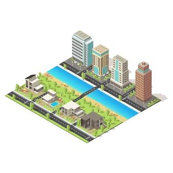 Icono de ciudad isométrica