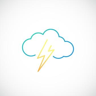 Icono de clima simple con nube con relámpagos