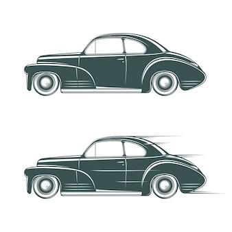 Icono de coche clásico en blanco y negro.