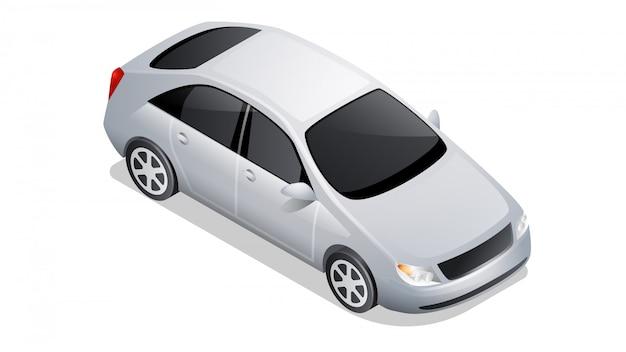 Icono de coche isométrico aislado en blanco