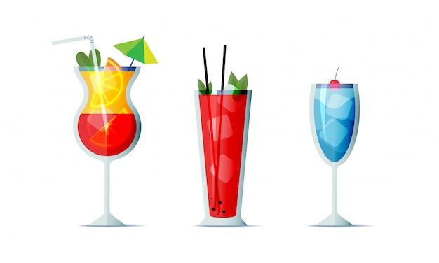 Icono de cócteles establece estilo de diseño de dibujos animados. tres bebidas alcohólicas populares para el menú de diseño