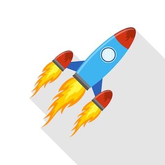 Icono de cohete color en diseño plano