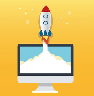 El icono del cohete y el fondo amarillo de la computadora.