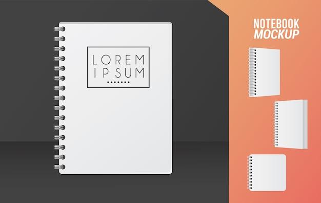 Icono de color blanco de maqueta de cuaderno.
