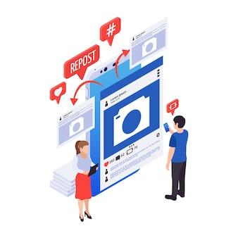 Icono de color de marketing en redes sociales con personajes de reenvío de publicaciones en internet 3d