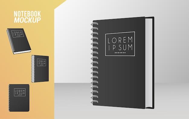 Icono de color negro de maqueta de cuaderno.