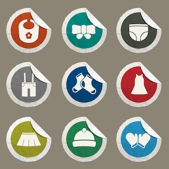 Icono de color de ropa de bebé para sitios web e interfaz de usuario