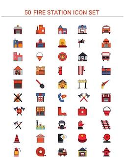 Icono colorido de 50 bomberos situado en estilo plano.
