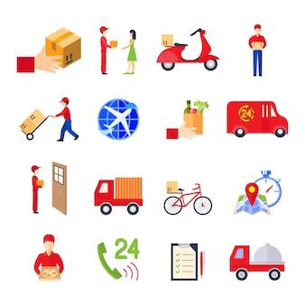 El icono colorido de la entrega plana fijó con la ilustración del vector del servicio personal de la orden del transporte