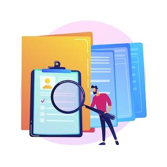Icono colorido de gestión de documentación. personaje de dibujos animados femenino poniendo el documento en la carpeta amarilla grande. almacenamiento, clasificación y organización de archivos