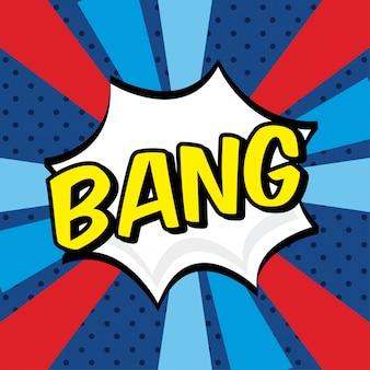 Icono de cómics bang sobre fondo grunge ilustración vectorial
