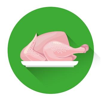 Icono de comida fresca de pollo entero