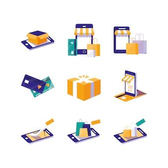 Icono de compras y comercio electrónico aislado establece diseño vectorial