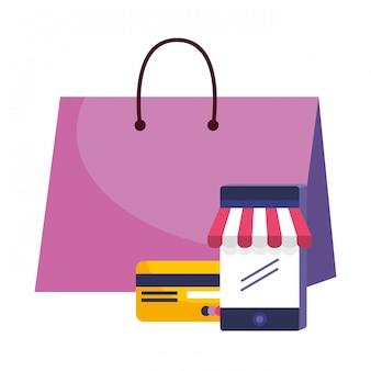 Icono de compras establece ilustración