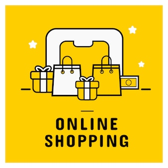 Icono de compras en línea establecer banner con teléfono inteligente.