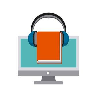 Icono de computadora, libro y auriculares. diseño de audiolibros. vector gra