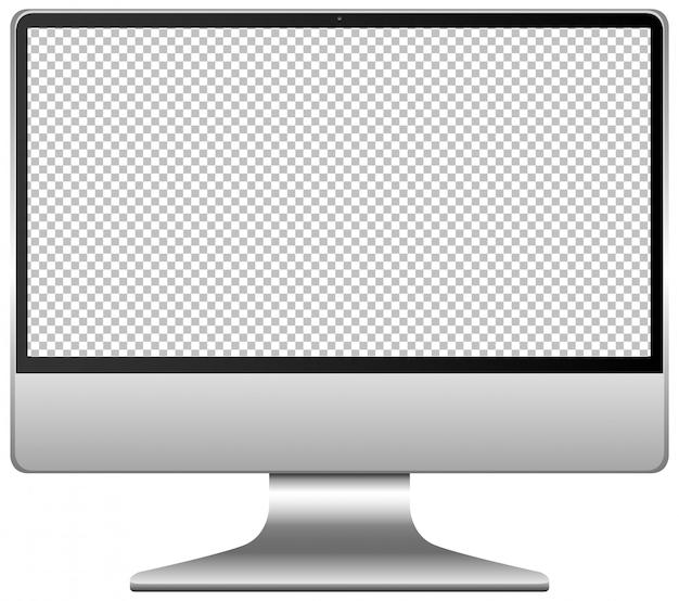 Icono de computadora de pantalla en blanco aislado sobre fondo blanco