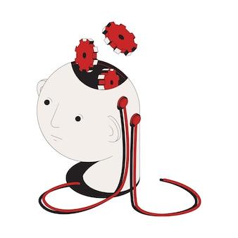 Icono de concepto de ataque cibernético con cabeza humana con engranajes y cables ilustración 3d
