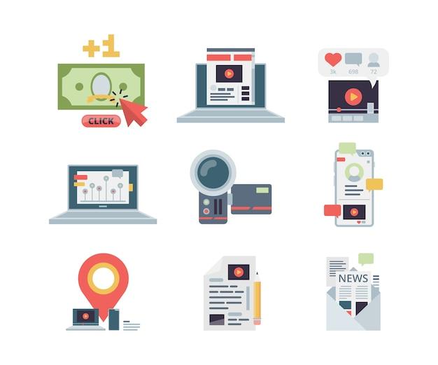 Icono del concepto de blogs. gestión de contenidos de marketing escribiendo aplicaciones en el lugar de trabajo símbolos afiliados red social vector imágenes planas. blogs de contenido multimedia, artículos e ilustraciones de vlog