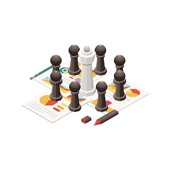Icono de concepto de estrategia de marketing con piezas de ajedrez y papeles con gráficos isométricos