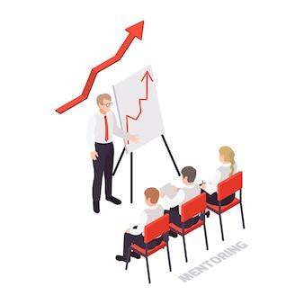 Icono de concepto de habilidades blandas isométricas con tres personajes escuchando a su mentor