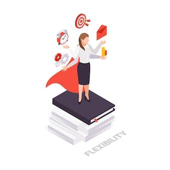 Icono de concepto isométrico de habilidades blandas con carácter empresarial femenino