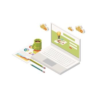 Icono de concepto isométrico de investigación de estrategia de marketing con computadora portátil 3d y gráficos coloridos 3d