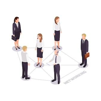 Icono de concepto de red de habilidades blandas con personajes de negocios isométricos