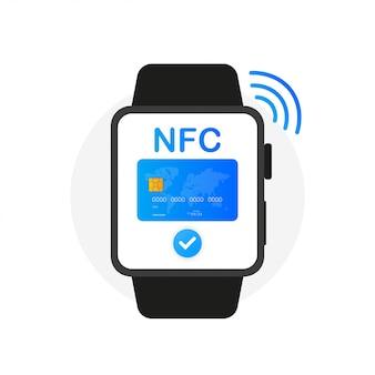 Icono de concepto de reloj de pago nfc en estilo plano.