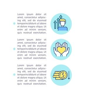 Icono de concepto de soluciones rentables con ilustración de texto