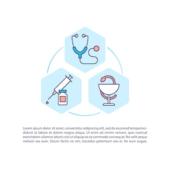 Icono de concepto de tratamiento de salud con ilustración de texto