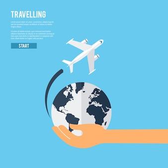 Icono de concepto de viaje de tierra global