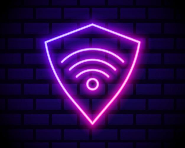 Icono de conexión de red vpn de neón brillante aislado en la pared de ladrillo oscuro. tecnología social. concepto de computación en la nube.