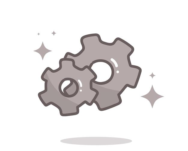 Icono de configuración de doodle de engranaje dibujado a mano ilustración de arte de dibujos animados