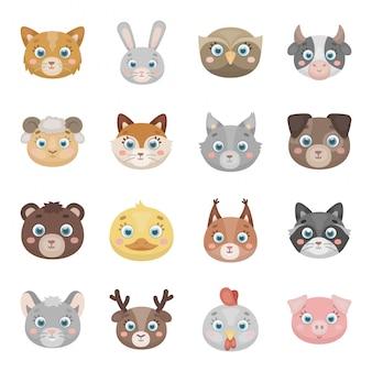 Icono de conjunto de animales de dibujos animados de cara. cabeza de icono de conjunto de dibujos animados de animales aislados. retrato de ilustración.