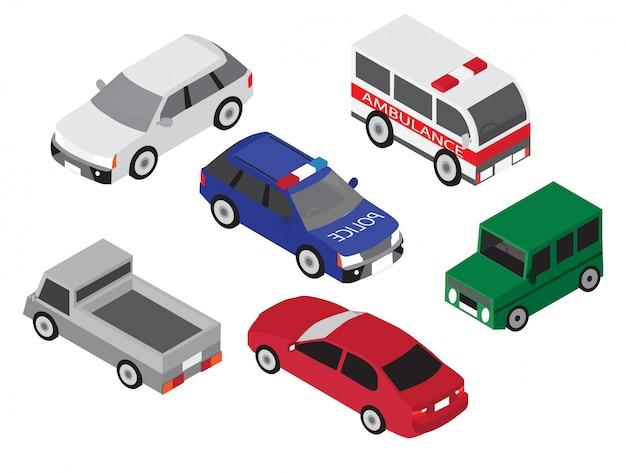Icono de conjunto de coche isométrico