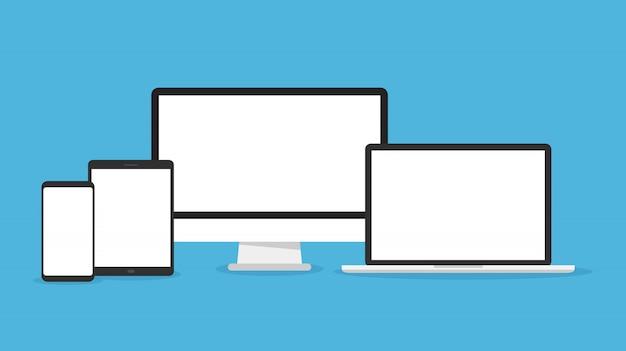 Icono de conjunto de computadora, computadora portátil, tableta y teléfono inteligente