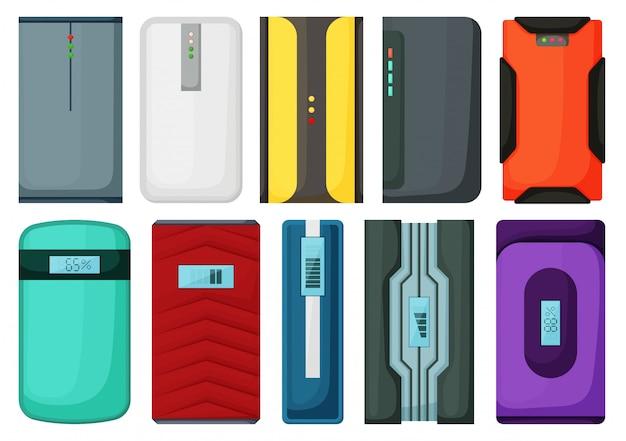Icono de conjunto de dibujos animados de banco de energía. cargador móvil de ilustración sobre fondo blanco. conjunto de dibujos animados icono power bank.