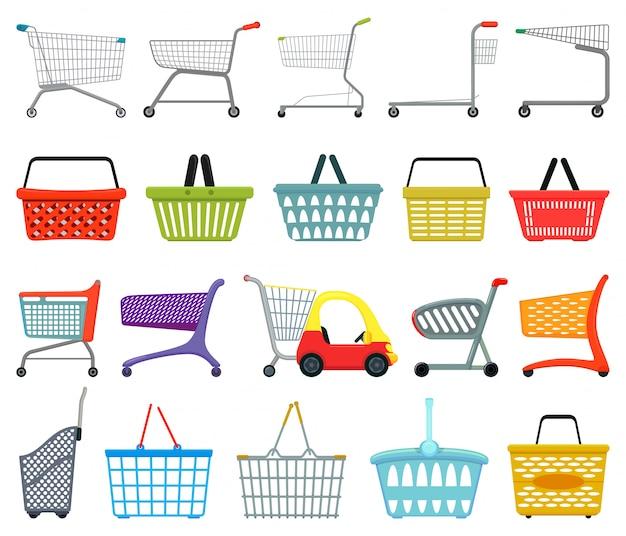 Icono de conjunto de dibujos animados de carro. conjunto de dibujos animados icono cesta de compras. carretilla de ilustración sobre fondo blanco.