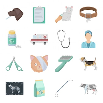Icono de conjunto de dibujos animados de clínica veterinaria icono de conjunto de dibujos animados aislado hospital veterinario. ilustración clínica veterinaria.