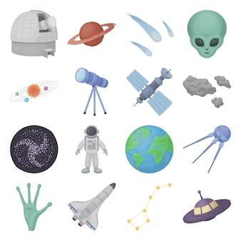 Icono de conjunto de dibujos animados de espacio