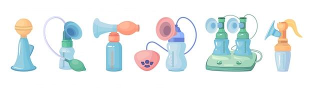 Icono de conjunto de dibujos animados de extractor de leche.